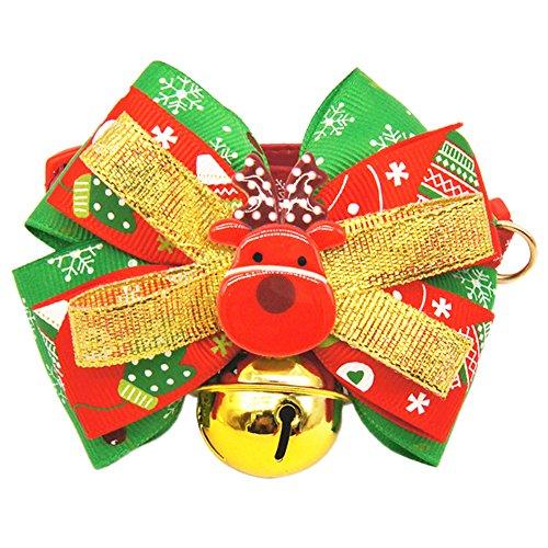 Jannyshop Weihnachten Hundehalsbänder Kostüm Chrismas Halsband mit große Schleife und Glocke Weiche Verstellbare Halskette Geschenke für Haustier Hunde Katzen in 2 Typen (Französische Für Baby Kostüm Bulldogge)