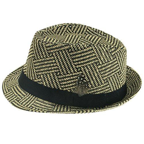 Schwarz und Cremefarben Trilby Hat Bast Stroh Stil mit schwarz Band und Feder, Schwarz