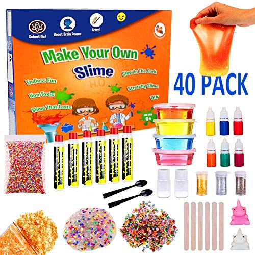 Slime Making Kit For Girls, Boys, Kids and Children | Create Ultimate DIY Crunchy Stretchy Floam Fluffy Galaxy Cloud Putty with Containers | Activator Clear Glue and Prime Supplies Accessories