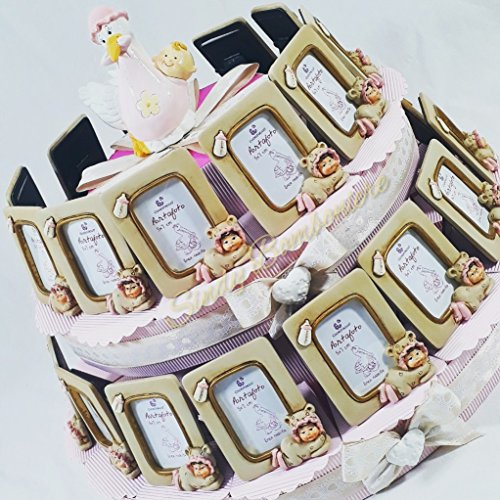 Torta bomboniera bimba femminuccia portafoto cicogna nascita battesimo (torta da 28 fette + centrale)