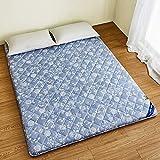 SANDM Atmungsaktive Bambus Kohle Tatami-Matratze, Verdickung Sleeping Mat Allergiker-Geeignet Klappbare Matratze Lightweight Matratzenauflage-Blau 180x200cm(71x79inch)