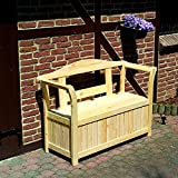 Friesenbank mit Kissenbox Holzbank Gartenbank Kiefer