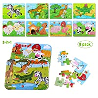 BBLIKE Jigsaw Puzzle, Jigsaw Puzzles for kids 112 pcs Wooden Puzzle Toy in 2 Tin Boxes ,Varying Degree of Difficulty Educational Tool Best Birthday Present for Boys Girls