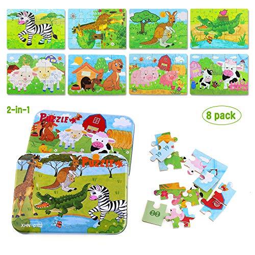 Kinder Tier Holzpuzzle Pädagogisches Spielzeug Puzzle Jigsaw Puzzles Set 8-In-2-Box 112pcs Kinder Beste Geburtstagsgeschenk für Jungen Mädchen (Wilde Tiere) ()
