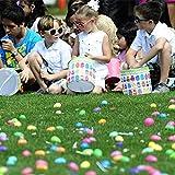 100 Deko-Eier Ostern [6 cm, Kunststoff] + 100 Aufhänger für Ostereier + 10 Schaschlik-Spieße fürs Marmorierenzum oder malen, Osterdekoration - 6