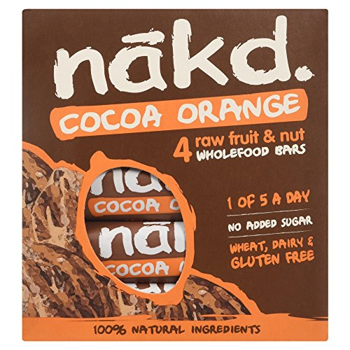 Nakd Cocoa Orange Fruit and Nut Bar, 4 x 35g Bars Test