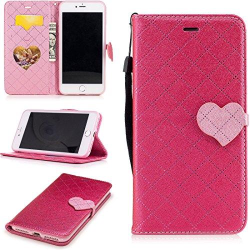 Nancen Wallet Case Hülle für Apple iPhone 7 / 8 (4,7 Zoll) ,Liebesform-Taste Magnet ,Muster Flip Funktion Kartenfächer Etui ,Schütze dein Telefon Love-3