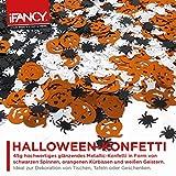 Halloween XXL Konfetti-Mix - viel glänzendes Metallic Konfetti mit Geist, Spinne & Kürbis - ideale Tisch-Deko & Party-Dekoration für Gruselige Halloween-Partys - 3