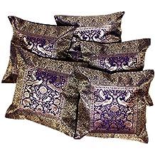 Fundas para cojín o almohada tela de brocado de seda india de trabajo étnico y bordado de elefantes, 43,18cm x 43,18cm, 5 unidades, seda sintética, azul, 51 x 51 cm