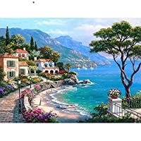 Paint By Numbers Digital Painting _Diy Digital Paintingadult Coloring Landscape Architecture Celebrity Building Lakeside Town@Picture Style_No Inner Frame 40X50Cm