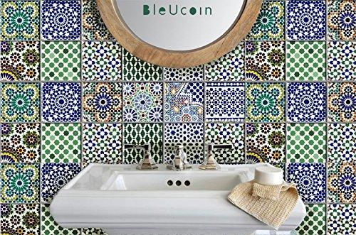 Etiquetas de azulejos marroquíes para el respaldo del cuarto de baño de la cocina, etiqueta desprendible del escalón de la escalera, cáscara y palillo Aplicación para la cocina alquilada - paquete de 44 (10cm x 10cm (Pack of 44))