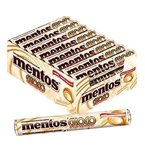 Mentos Choco Weisse Schokolade und Karamell | Dragees mit Toffee Geschmack | Karton mit 24 Rollen Bonbons | Multipack Karamellbonbons