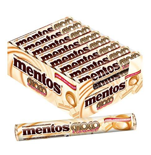 Mentos Choco Weisse Schokolade und Karamell, 24 Rollen Kaubonbons im Multipack, Kau-Dragees mit Toffee Geschmack
