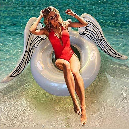 Huaanlonguk Aufblasbare Schwimmendes Bett, Pool Floating Row Schwimmen Party Pool Lounge Floß Dekorationen Spielzeug für Erwachsene & Kinder (Engel Flügel)
