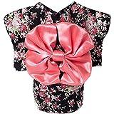 BEETEST Lindo Kimono Japonés estilo ropa traje ropa para mascotas para perro gato cachorro falda vestido ropa Negro Talla S