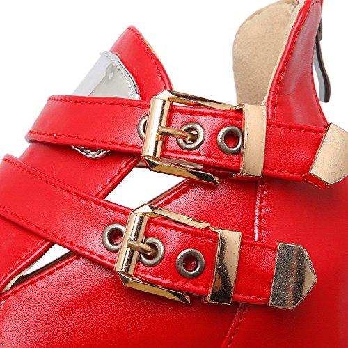 AllhqFashion Femme Zip Matière Mélangee à Talon Correct Zip Rond Chaussures Légeres Rouge