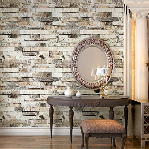 HHKX100822 Tapete 3D Wallcover PVC Vintage Faux Brick Stone Vinyl Wall Covering for Wall Living Room Bedroom Bad Decoration 5.3/. Pro -