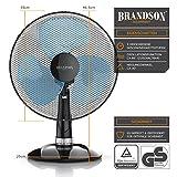 Brandson - Tischventilator 35cm | Tisch Ventilator mit 3-Leistungsstufen | Leistungsaufnahme 40W | angenehmes Betriebsgeräusch | Neigungswinkel ca. 30° | Oszillation ca. 85° | schwarz
