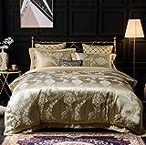 SASA Baumwolle Satin Jacquard Bettwäsche-Set Schlafzimmer Seide Duvet-Set 4 Stück 1 Bettbezug, 1 Bettwäsche, 2 Kissenbezüge, L, 180x200cm