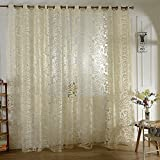 #9: Hexawata 1 Panel Hollowed Lace Pattern Window Treatment Door Sheer Curtains Voile Tulle Screens Panels for Home Office Dining Room Beige 250cmx100cm