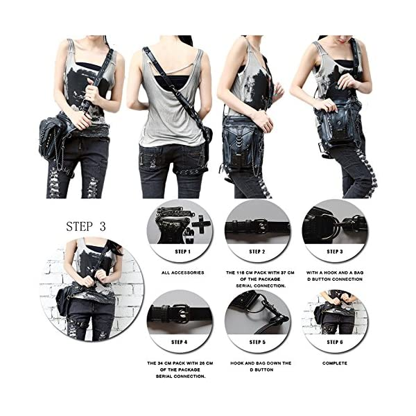 Retro Women MEN Gothic Rock Leather Steampunk Bag Steam Punk Retro Rock Gothic Goth Shoulder Waist Bags Packs Victorian Style for Women Men + leg Thigh Holster Bag DM201605 100% Brand New and High Quality. Adjustable belt design for better fitting body Material : Leather ( PU Leather) Durable material and workmanship to withstand daily wear & tear. 9
