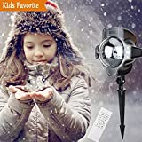 Unimall Snow Falling Light Remote Control Christmas LED Snowfall Light Projector White Snowflake Flurries Rotating Spotlight Outdoor Indoor Landscape Decorative Lights