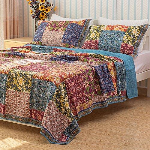 Unimall Tagedecke 100% Baumwolle Doppelbett Bettüberwurf / Sofaüberwurf Shabby chic Muster -