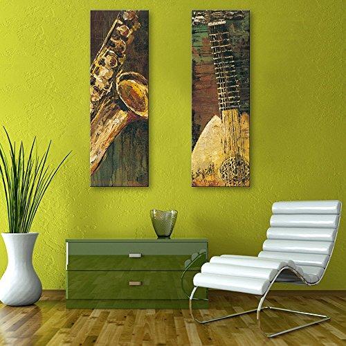 DaYiYang Spezielle Design rahmenlose Gemälde Abstraktes Musikinstrumente Muster 2 9 x 28 inch (24cm x 70cm) (Musikinstrumente, Gemälde)