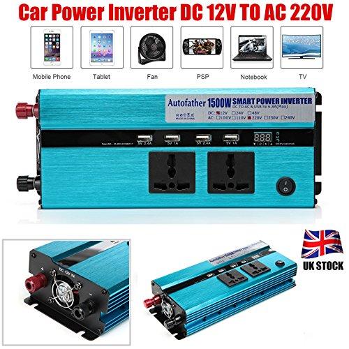 Preisvergleich Produktbild 1500W Power Inverter für Auto DC 12V auf AC 220V Auto Power Netzteil mit 2Ausgänge 4USB Ladekabel Anschlüsse Digital Display