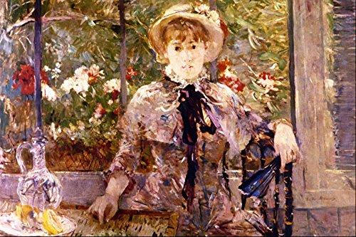 Das Museum Outlet-Young Girl in a grün House von Morisot, gespannte Leinwand Galerie verpackt. 147,3x 198,1cm