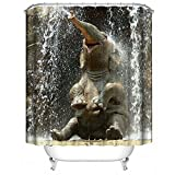 Lanlan Happy Elefant Wasserdicht Duschvorhang, Badezimmer zum Aufhängen-Vorhänge mit 12Haken Badezimmer Zubehör, Polyester, 180*180