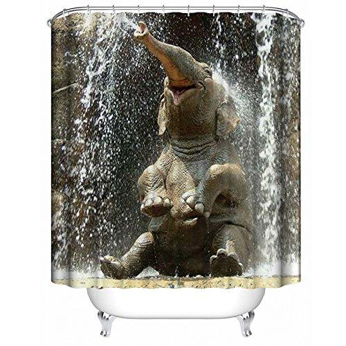 Lanlan Happy Elefant Wasserdicht Duschvorhang, Badezimmer zum Aufhängen-Vorhänge mit 12Haken Badezimmer Zubehör, 180*200