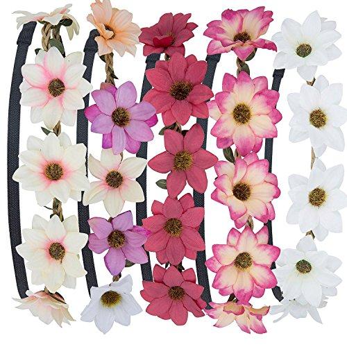 Stirnband Blumen, ZWOOS 5 Stück Stirnbänder Krone Haarband Kopfband Blume Haarbänder mit Elastischem Band für Hochzeit und - 5 Mädchen Halloween-ideen