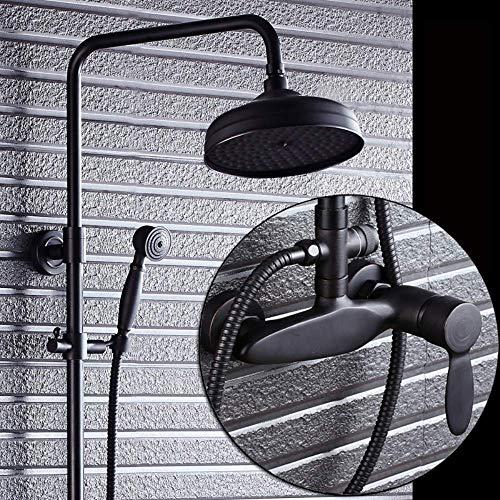 SISHUINIANHUA Öl eingerieben Bronze Badezimmer Dusche Wasserhahn Set Runde Regendusche Kopf + Hand Spray + Wanne Wasserhahn (Dusche Kopf Eingerieben Bronze)