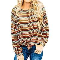 TEELONG Bluse Damen Freizeits langes Hülsen-Farbstreifen-Druck-Bluse übersteigt T-ShirtSweatshirt Longpullover Pulli Strickpullover Winterjacke Kapuze