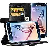 EasyAcc Galaxy S6 Hülle Brieftasche mit Standfunktion Kartenfächer für Samsung Galaxy S6 18 Monate Garantie- Schwarz