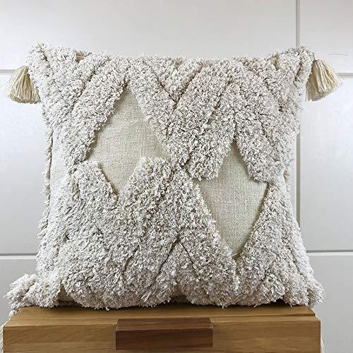 meosu Komfort Sofakissen Lendenkissen 45 * 45 cm Kissenbezug Marokko Stil Wolle Elfenbein Kissenbezug Mit Quasten Für Sofa Sitz Einfache Wohnkultur Leinen -