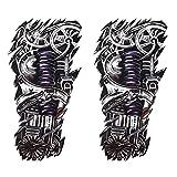 SpringPear 2X Temporär Mechanischer Arm Tattoo Aufkleber für Arme Beine Wasserfeste Tätowierung (2 Pcs QC-598)