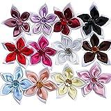Chenkou Craft 24PCS 2strati con nastro di raso fiori fiocchi/strass Craft (Bauhinia)