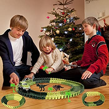 Actrinic Slot Car Race Track Sets Dinosaur Toys Jurassic World With 142 Pieces Flexible Tracks 2 Dinosaurs,1 Military Vehicles,4 Trees,2 Slopes,1 Double-door & 1 Hanging Bridge For Children's Gift 5