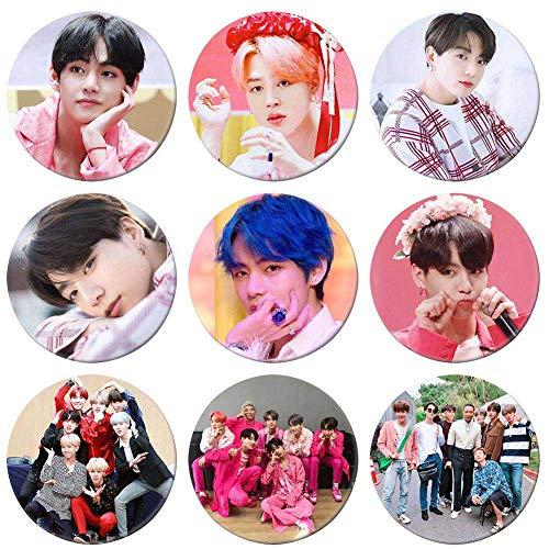 Mini Office Depot 9 Pcs BTS Bangtan Boys Love Yourself Knöpfe Abzeichen für Jungen Mädchen Kleidung Tasche Dekor (Knöpfe Und Abzeichen)