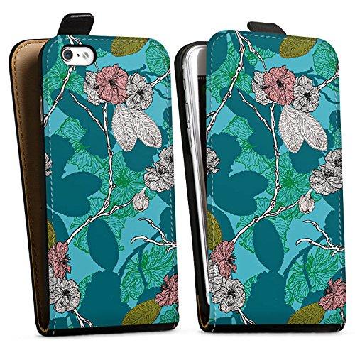 Apple iPhone X Silikon Hülle Case Schutzhülle Kirschblüten Blüten Muster Downflip Tasche schwarz