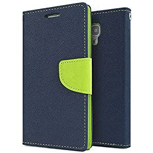 Aart Fancy Diary Card Wallet Flip Case Back Cover For Mircomax A210 - (Blue) by Aart Store