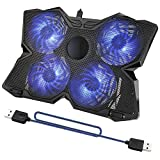 """Tree.NB Laptop refrigeración Ventiladores externos Pad para 12 """"-17"""" Notebook con 4 ventiladores silenciosos de 125 mm, 2 puertos USB y ajuste de altura ajustable e iluminación LED azul"""