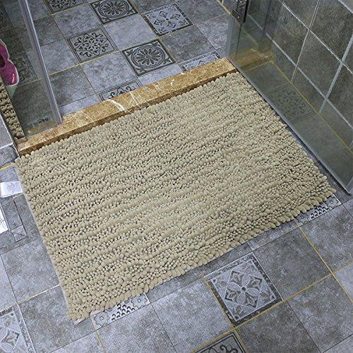 WANG-shunlida Chenille Fußmatte, Bad Rutschfeste saugfähiger Teppich, Schlafzimmer Badezimmer Matte, Haushalt Maschinenwäsche Fußmatte,50 X 80 Cm, Khaki -