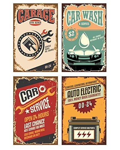 7Retro Schilder für Garage. Funny Vintage Schilder für automatische Repair Shop oder ein Auto waschen Garage. Toll als Abschlussfeier Geschenke oder College Poster ()