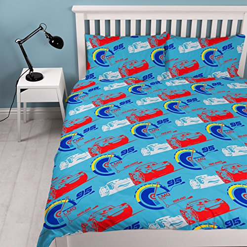 "Image of DISNEY CARS 3 Repeat Print Design ""Lightning"" Duvet Set, Multi-Colour, Double"