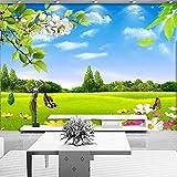 Amazhen Fondo murale su ordinazione del sofà di bellezza della natura della natura del fiore del prato del cielo blu 3D della carta da parati,336cmx238cm