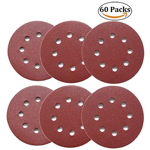 5 Disc Schleifpapier Zoll (Joyoldelf Klett-Schleifpapier,125 mm 60 Stück Körnung je 10 x40/60/80/120/180/240 Exzenter-Schleifer Schleifscheiben 8 Loch 5 Zoll,runde Form)