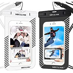 MOSSLIAN Funda Bolsa Móvil Impermeable Universal 6 Pulgadas, Funda Resistente al Agua Bolsa Movil Playa a Pruebva de Agua y Polvo de Suciedad, para iPhone Samsung Huawei (Rayas Negro y Blanco, 2P)